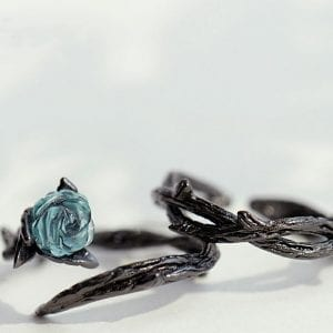 Black Thorn Blue Rose Ring