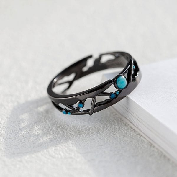 1 Thaya CZ Milky Way Black Rings Blue Bright Cubic Zirconia Rings 925 Silver Jewelry for Women