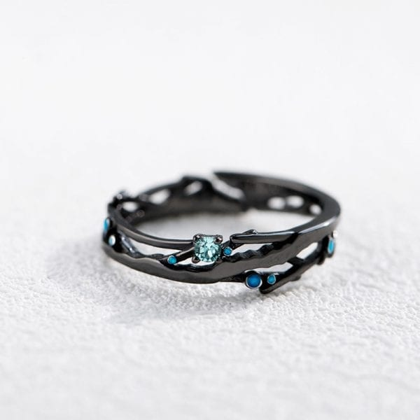 2 Thaya CZ Milky Way Black Rings Blue Bright Cubic Zirconia Rings 925 Silver Jewelry for Women