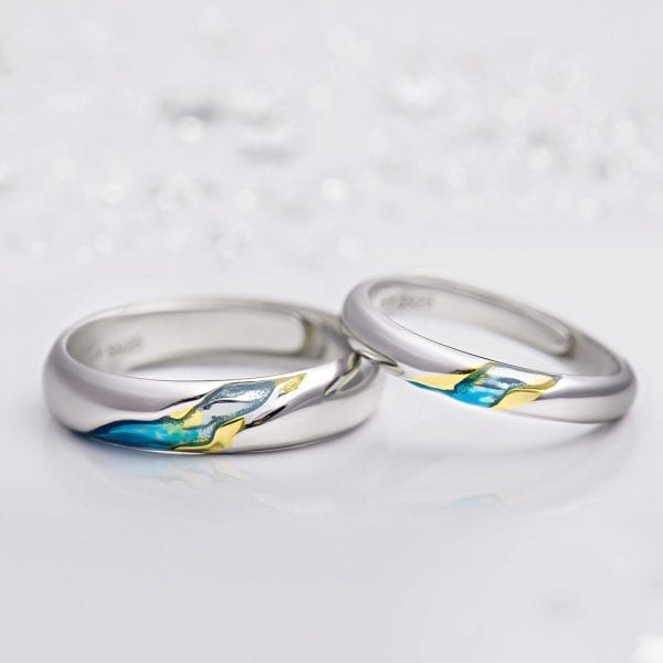 Aqua Starry Night Couple Promise Ring