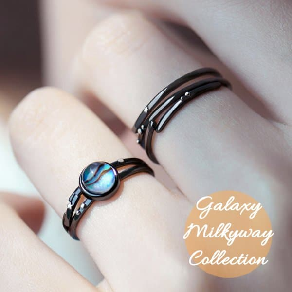 2 Thaya Stars Milky Galaxy Astronomy Ring Magical Gemstone 925 Sterling Silver Party Handmade Bands Jewellery n