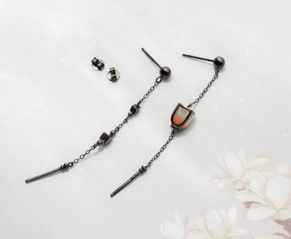 Black Plated Lantern Tassel Earrings