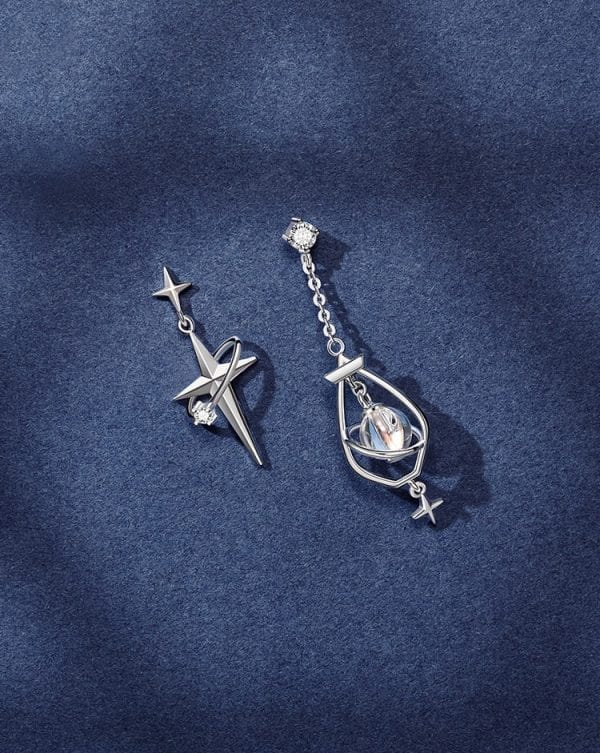 Silver Star Magician Earrings
