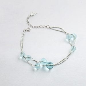 Blue Crystal Mermaid Glass Bracelet