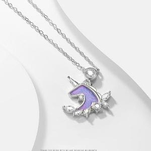 Purple Silver Unicorn Necklace