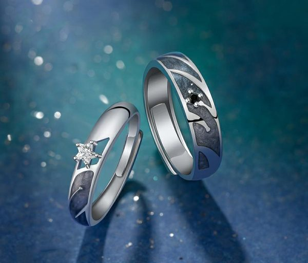 Thaya 925 Silver Sky Starry Couple Ring For Lovers Adjustable Open Design Enamel Valentine Gift For