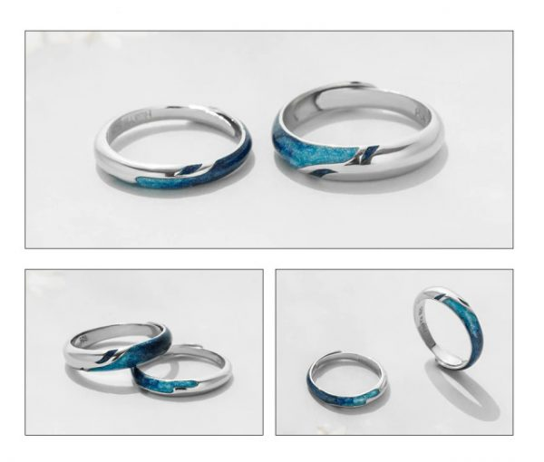Thaya Bright Shining River Emerald Rings s925 Silver Circular Soft Blue Romantic Jewelry Ring for Wo