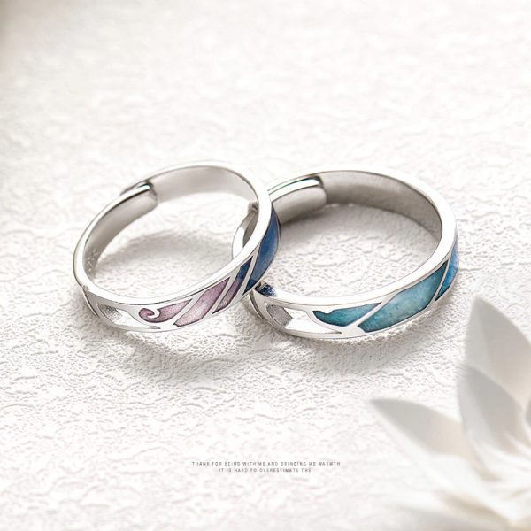 Thaya Multi Color Gradient Rings Adjustable Jewelry 925 Silver Ring Circle Rings For Couples Engagem