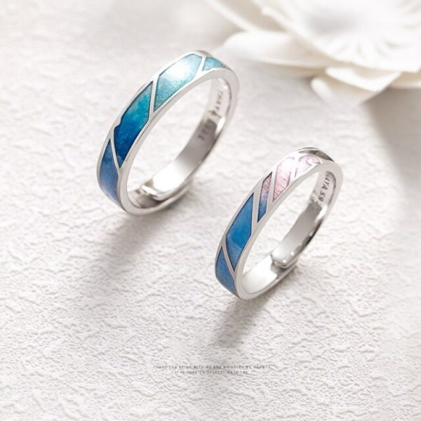 Thaya Multi Color Gradient Rings Adjustable Jewelry 925 Silver Ring Circle Rings For Couples Engagement