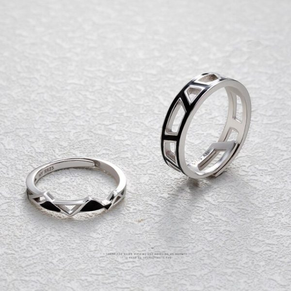 Thaya Original Edges and Corners Design Rings s925 Silver Black Angle Geometry Open Ring for